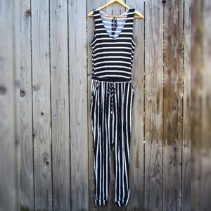 NWT Black and White Striped Jumpsuit